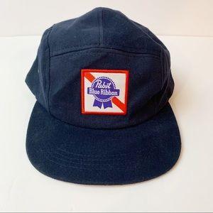 Pabst Blue Ribbon Snap Back Beer Hat Blue Logo